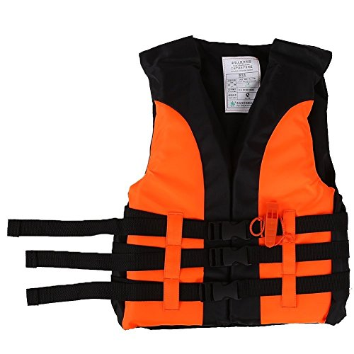 Thur amo Children Life Vest Buoyancy Swimming Jacket Survival Vest Boating Drifting Aid Jacket with Emergency Whistle for Kids 5-12 Years Old (Orange)