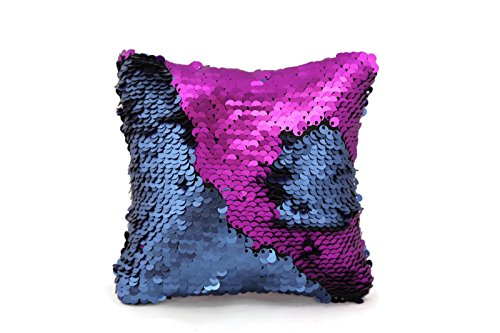 The Original Magic Sequin Fidget Pillow Toy - Square Fidget Toy for Relaxing Therapy Increase Focus for Adults and Children Helps with Stress ADHD ADD Autism by Little Monkey (Magenta & Navy)