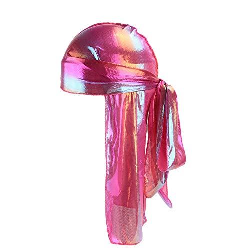 (Icevog Mens Womens Silky Satin Durag Holographic Headwraps Cap Sleeping Du-Rags Head Turban Hat for 360 Waves Rose)