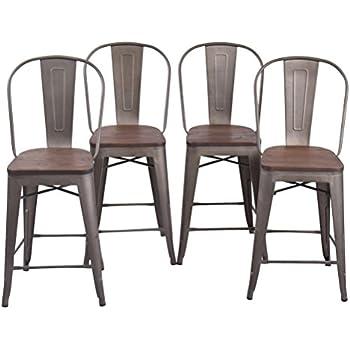Amazon Com Changjie Furniture High Back Metal Bar Stool