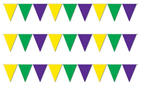 Mardi Gras Pennant Banner - Beistle S50707-GGPAZ3 Pennant Banners 3 Piece, 11