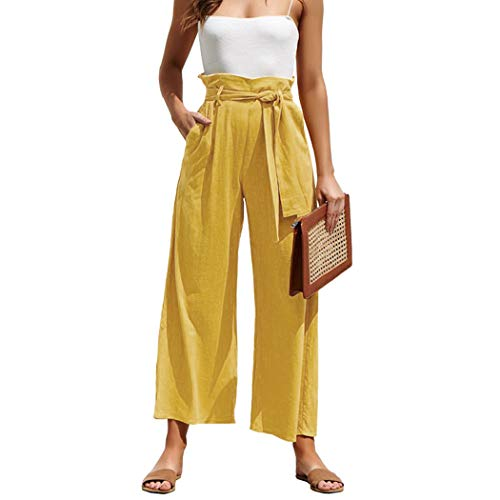 (MOLFROA Womens Casual Crop Wide Leg Lace Up High Waisted Dress Pants with Fabric Belt (Yellow,M))