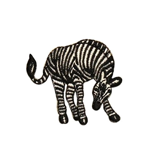 ID 0640A Zebra Grazing Patch African Wild Life Embroidered Iron On Applique
