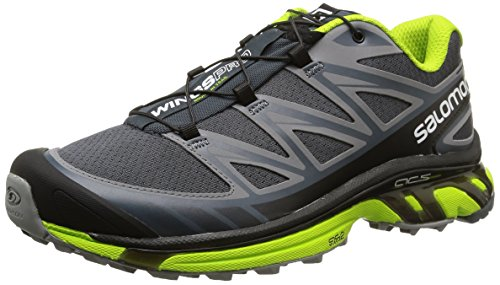 Pearl Grey Footwear (Salomon Men's Wings Pro Running Trail Shoe, Grey Denim/Pearl Grey/Granny Green, 11 M)
