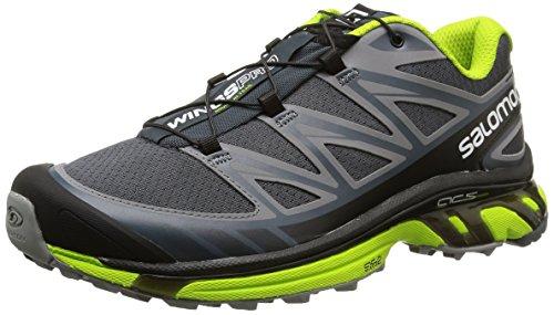 Pearl Grey Footwear (Salomon Men's Wings Pro Running Trail Shoe, Grey Denim/Pearl Grey/Granny Green, 11 M)