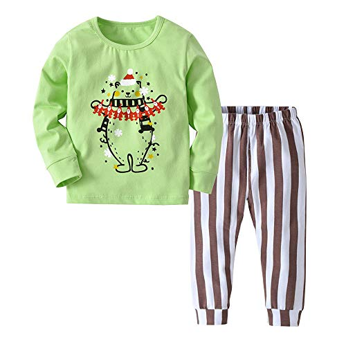 Little Kids Christmas Pajamas Sets,Jchen(TM) Infant Baby Kids Little Boys Girls Long Sleeve Christmas Tops Pants Homewear Sleepwear Outfits for 1-5 Y (Age: 18-24 Months, Green) -