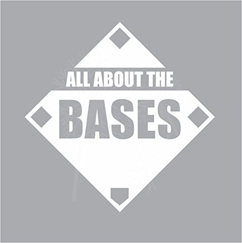 White 23x23-Inch 23X 23 Wall Decor Plus More WDPM3831 All About The Bases Baseball Quote Wall Art Vinyl Decals Stickers for Boys or Girls Room