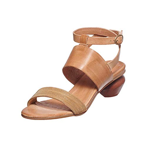 Antelope Women's 480 Taupe Leather Ankle Wrap Egg Heeled Sandal 39 ()