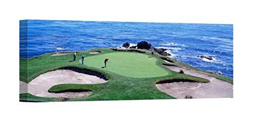 Easy Art Prints Panoramic Images's 'Golfers Pebble Beach, California, USA' Premium Canvas Art 36 x 12 ()