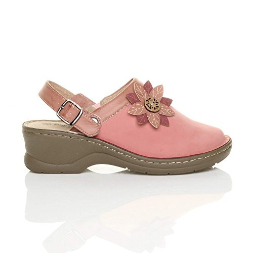 Mules Slingback Clogs Comfort Heel Ladies Womens Sandals mid Ajvani Flower Coral Size Block qAzwZU0