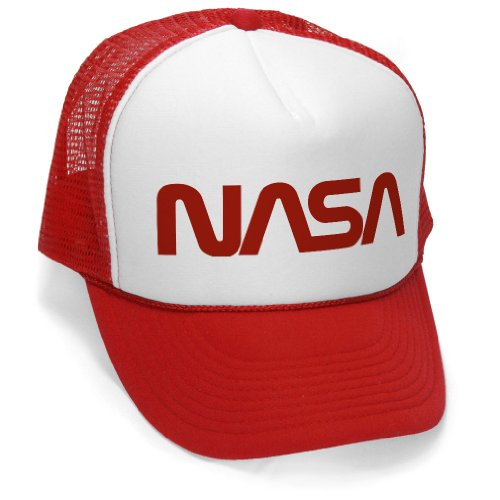OLD NASA LOGO - space retro funny geek nerd Mesh Trucker Cap Hat Cap, Red - Retro Hat
