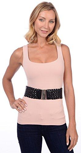 Sunny Belt Women's Braided Buckle Oversized Waist Belt Black Large ()