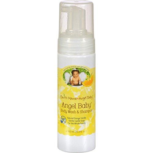 Earth Mama-Angel Baby Body Wash & Shampoo Pure Castile Vanilla Orange Soap for Every Body 5.3 fl. oz