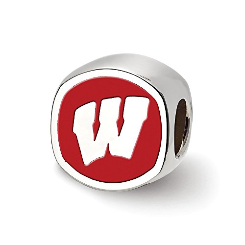 Cushion Shaped Bead (Mia Diamonds 925 Sterling Silver LogoArt University of Wisconsin Cushion Shaped Logo Bead Charm for Charm Bracelet)