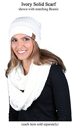 S1-6100-25 Funky Junque Infinity Scarf - Ivory (Solid) by Funky Junque (Image #3)