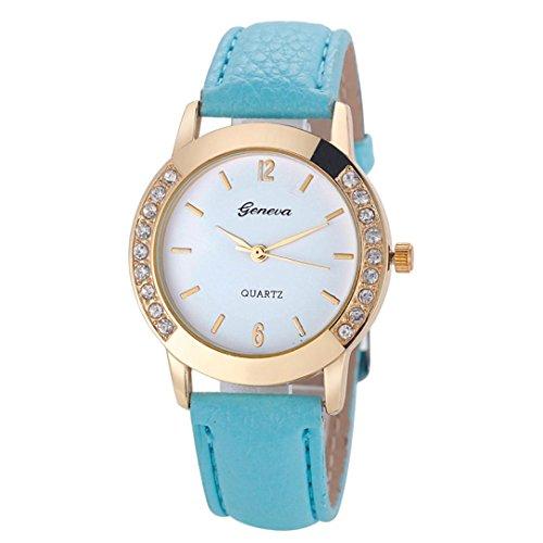 Women's Watch On Sale,Goddessvan Fashion Lady Rhinestone Analog Leather Quartz Wrist Watch (Sky (Link New Ladies Wrist Watch)