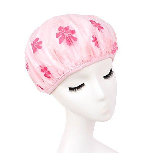 eDealMax Rose PEVA Microfibre Double couche d'impression de Fleur impermable Bain Cheveux Chapeau
