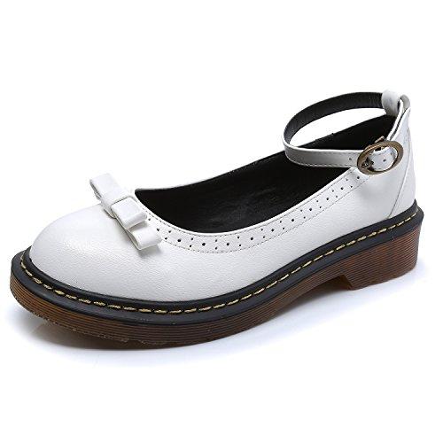ballerine White cinturino alla caviglia e con arrotondata Smilun donna fiocco da punta dd7gq