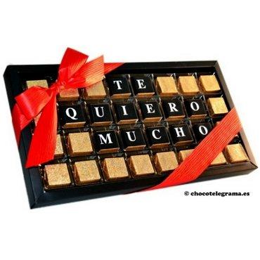 Chocomensaje :TE QUIERO MUCHO Chocotelegrama de 32 bombones de chocolate con leche y fino praliné: Amazon.es: Alimentación y bebidas