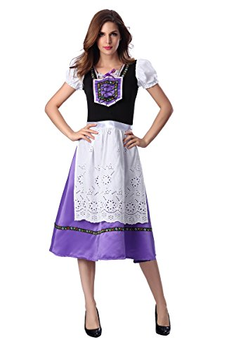 [Dantiya Women's Europe Halloween German Beer Dress Oktoberfest Maid Costume Purple (XL)] (German Dress)