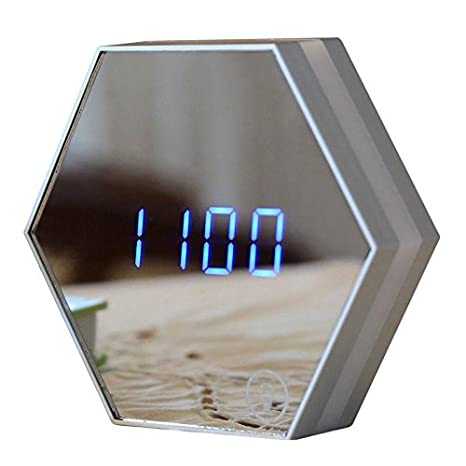 OOLIFENG Reloj Digital LED Night Light Termómetro Espejo Reloj de Alarma de Cristal con USB: Amazon.es: Hogar