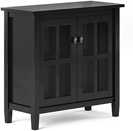 Simpli Home Warm Shaker SOLID WOOD 32 inch Wide Rustic Low Storage Cabinet in Black, with 2 Adjustable Shelves, Tempered Glass Door