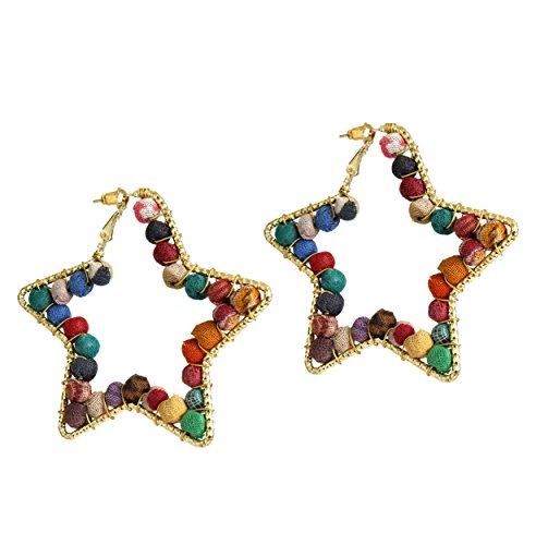 [Store Indya Beautifully Handcrafted Star Shaped Beaded Earrings Fashion Jewelry for Women & Girls] (Tribal Costumes Of India)