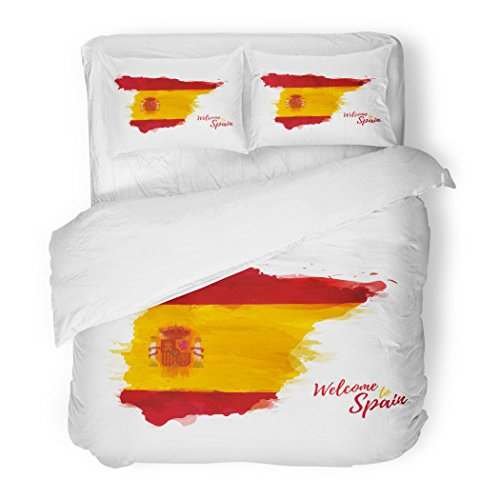 SanChic Duvet Cover Set Blue Abstract Symbol Spain Map of with the National Flag Style Watercolor Drawing Red Brush Decorative Bedding Set with 2 Pillow Shams King Size by SanChic
