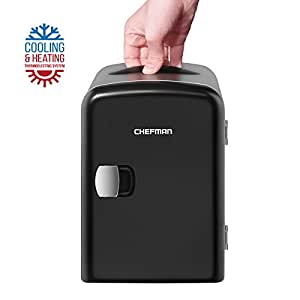 Chefman Mini Portable Compact Personal Fridge Cools & Heats, 4 Liter Capacity Chills Six 12 oz Cans, 100% Freon-Free & Eco Friendly, Includes Plugs for Home Outlet & 12V Car Charger - Black
