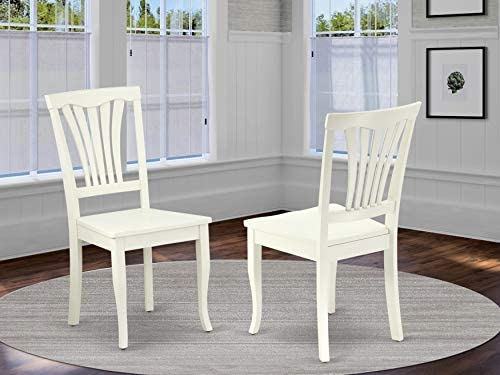 East West Furniture Avon Farm Wooden Seat and Linen White Hardwood Frame Dining Room Chair Set of 2
