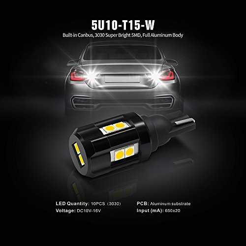 SiriusLED-Backup-Reverse-Light-Canbus-error-free-LED-Bulb-Size-921-Super-Bright-3030-SMD-Xenon-White-6000k-Pack-of-2