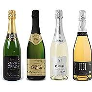 Sparkling Wine Sampler - Four (4) Non-Alcoholic Wines 750ml Each - Elivo Zero Zero Deluxe Sparkling, Princess Bollicine Bianco Extra Dry, Pierre Chavin Perle Blanc, and Tautila Espumoso Blanco