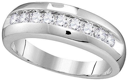 Roy Rose Jewelry 10K White Gold Mens Round Diamond Single Row Wedding Anniversary Band Ring 1/2 Carat tw ~ Size (Mens Diamond Anniversary Ring)