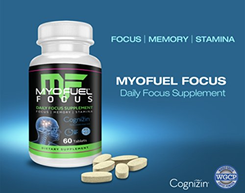 MyoFuel Focus – Daily Focus Supplement – Focus, Memory, Stamina – Whole Green Coffee Powder WGCP , Citicoline, Huperzine A, 60 Tablets Per Bottle