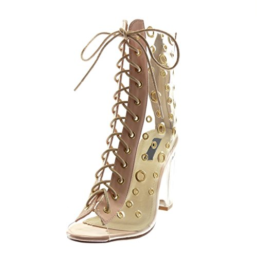 Transparent High Shoes Peep Heel Women's Ankle Perforated Boots Fashion 10 Booty Angkorly Pink Toe Laces cm Block nR7wUv