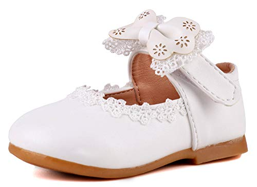 Anrenity Little Girl Mary Jane Ballet Flats Shoes Princess Dress Shoes(Infant/Toddler Girls) MJ-001 White 25