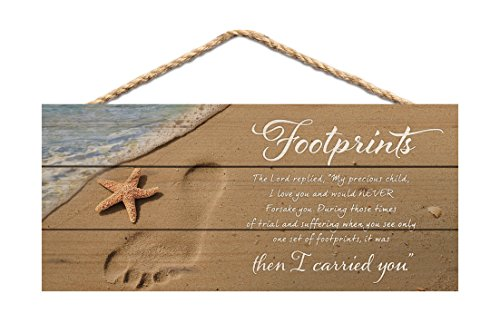 P. Graham Dunn Footprints I Carried You Beach Printed 10 x 4.5 Wood Wall Hanging Plaque - Footprints Plaque