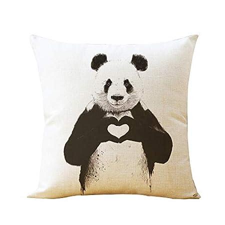 Cuscino Quadrato Copre Cotone E Lino Case Cuscino Casa per Divano Letto Sedia 43X43cm 2-Modello Panda,Style1