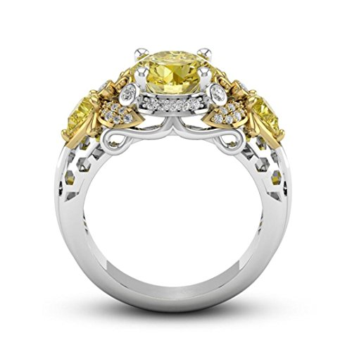 - BEUU Yellow Diamond Ring with Diamonds Bee Shape Yellowstone with Fingers Ring (Gold, 7)