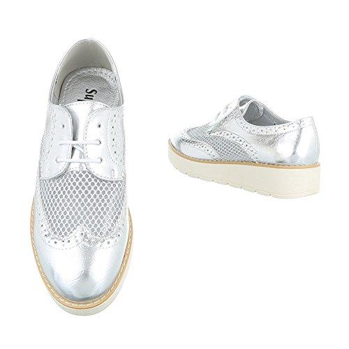 Damen Halbschuhe Schuhe Schnürer Elegant Gold 40 0hOwdA