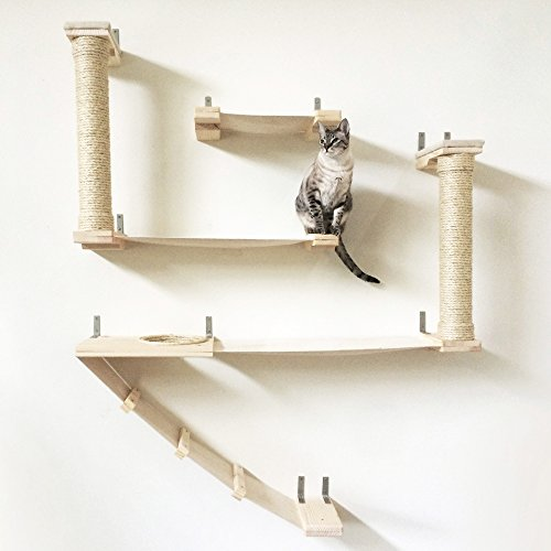 CatastrophiCreations The Roman Cat Fort - Cat Hammock & Climbing Activity Center - Handcrafted Wall-mounted Cat Tree Shelves