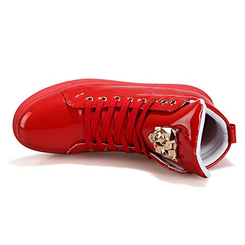 PP FASHION Männer Teenager Mode Turnschuhe Basketball Patent Gym Ausbildung Laufende Stilvolle Freizeitschuhe rot