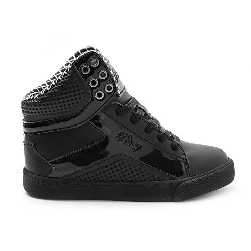 Pastry Pop Tart Grid Youth Dance Sneakers, Black/Black, Size 2