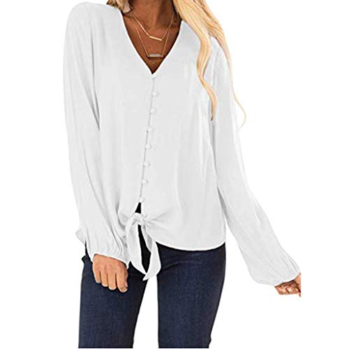 (TUSANG Womens Tees Blouse Button V Neck Slim Fit Tunic Ruffles Cap Sleeve Tie Knot Button Casual Shirt Tops(White,US-8/CN-L))