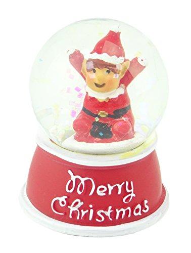 Christmas Glitter Snow Globe - Merry Christmas - Elf Design Inside - Traditional Christmas ()