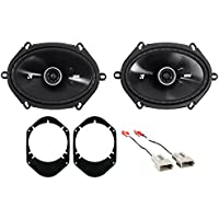 1997-1998 Ford F-150 Kicker 6x8 Rear Factory Speaker Replacement Kit+Harness