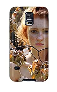 ZippyDoritEduard Premium Protective Hard Case For Galaxy S5- Nice Design - Autumn Fairy Branches Leafs Rust Freckles Redhead Trees People Women