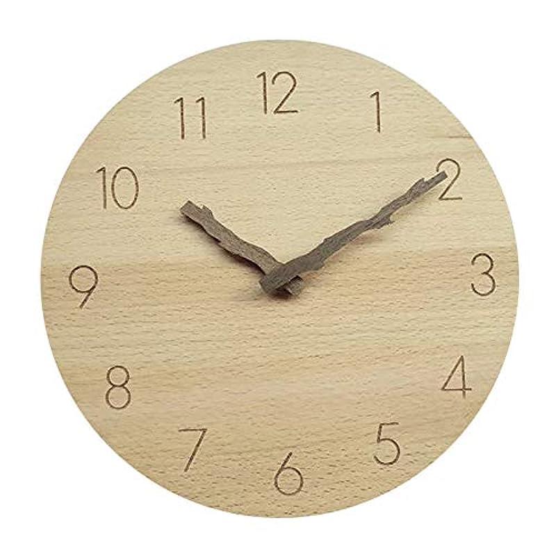 Saytay 벽시계 벽걸이 시계 벽시계 멋쟁이 목제지 형지침 천연목 연속 초침 정음 원형 아라비아 숫자 전지식 방 장식 선물 직경 약25CM (라이트 브라운)