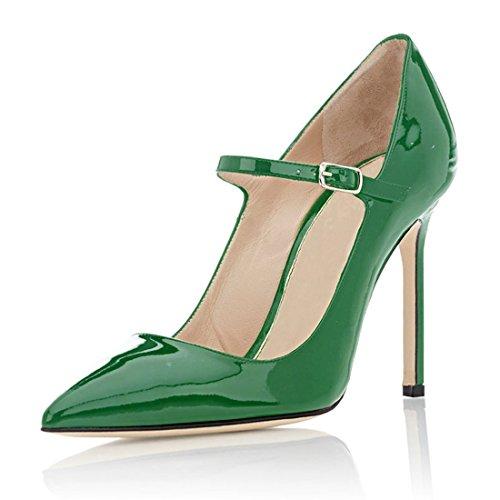 Soireelady Vrouwen Hoge Hak Pompen Mary Jane Pumps Kantoor 10cm Stilettos Groen