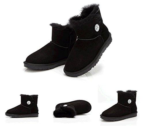 Snow Black Wool Sheepskin Warm Boot Women's Shoes Lined Hot K3K Winter New Fur qwxOvvZHU